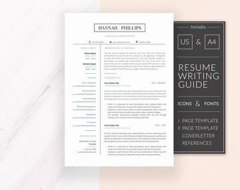 Modern Resume Template Design | Professional Resume Template for Word | CV Template + Cover Letter & References | Instant Download | HANNAH