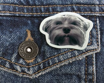 Dog Brooch, Shrink Plastic Pin, Yorkie Art, Yorkshire Terrier Gifts, Yorkie Gifts, Animal Pins, Cute Pins, Dog Face, Kawaii Pin, Murphy Pin