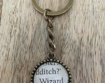 Harry Potter Wizard book page keychain
