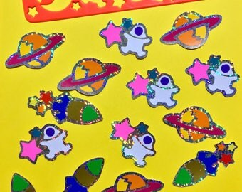 Lisa Frank Stencil Stickers - Outer Space Themed