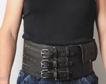 Waist leather belt, viking belt, wide leather belt, leather men's corset, black corset belt, athletic belt, viking corset, gift for man