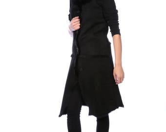 Black Toscana Lambskin Long Reversible Waistcoat, Black Sheepskin Sleeveless Coat Size XS