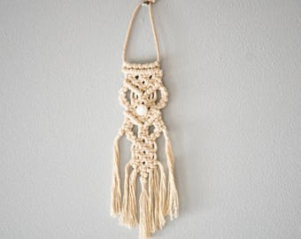 Snowy Owl Macrame Wall Hanging Made With Cotton Cord