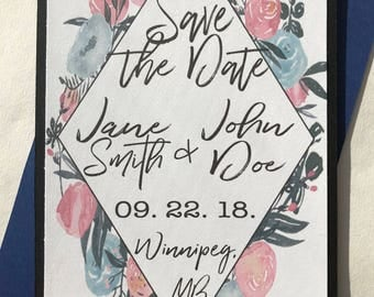 Sample-Pink and Blue Floral Save The Date