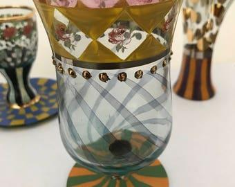 MacKensie Childs Water Goblet Vintage Water Glass