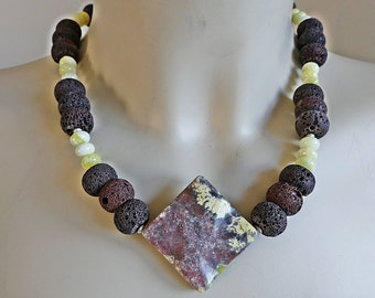 Necklace, brown lava, lemon jade, modernist, Jasper, Rhombe, gemstone necklace