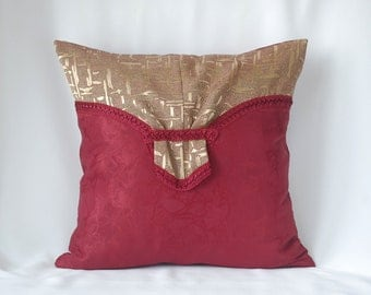 With golden buckle decorative throw pillow cover, burgundy original cushion 16x16 handbag couch pillow with braid vinous