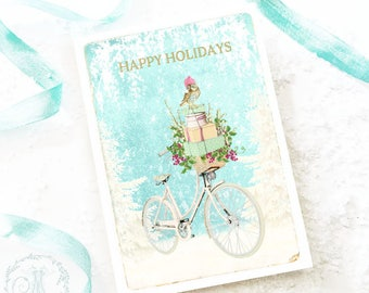 Christmas card, vintage bicycle, white Christmas, owl, holiday card, blank inside