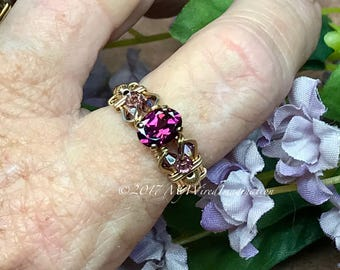 Rhodolite Garnet, Hand Crafted Wire Wrapped Ring, Raspberry Rhodolite, Dark Red Garnet January Birthstone, Your Choice in Sterling or 14k GF