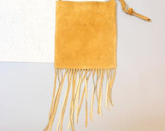 1990's Desert Fringe Leather Satchel Bohemian Purse in Camel Tan Brown . 90s Suede Bag with Vinyl Interior and Inside Pocket