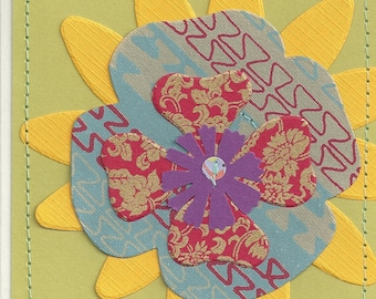 Handmade Flower Card - Chartreuse, Yellow, Blue, Red