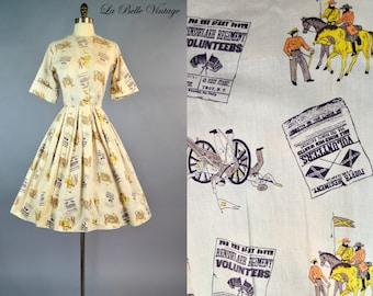 Regiment Printed Dress S Vintage 60s Full Skirt Shirtdress ~  American Revolutionary War Print