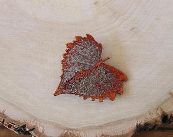 Cottonwood Leaf Brooch Copper, Hair Pin, Cottonwood Leaf Pin, Real Leaf, Copper Leaf, Nature Pin, Hat PIn, Organic Brooch, BROOCH14