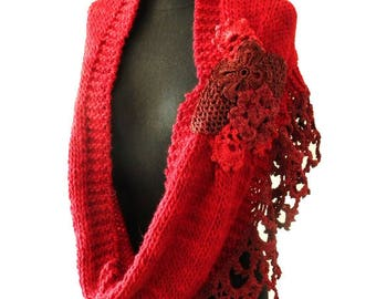 NIDO II- handknitted and crochet poncho, cover shoulders, warm scarf, fashion poncho red, handknit cowl red, wedding cover up, bridal wrap