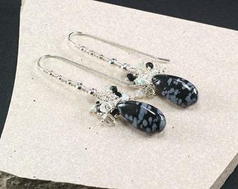 Snowflake Obsidian earrings, Herkimer Diamond Quartz Black Spinel Ethiopian Opal gemstone clusters 925 Silver wire wrapped earrings
