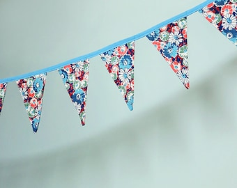 Pennant Banner Flag Garland Bunting Wall Decor made from Vintage Floral Fabric in Blue, Green, Orange, Cream and Maroon