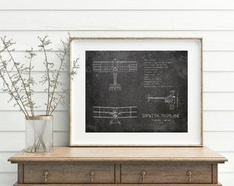 16x20 Sopwith Triplane Blueprint Airplane Wall Art Vintage Decor