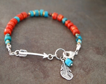 Southwest Arrow Turquoise and Coral Bracelet