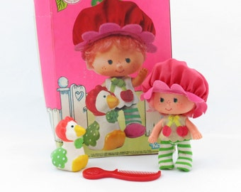 Cherry Cobbler with Gooseberry, 1980s Strawberry Shortcake Cherry Scented Doll and Pet Goose