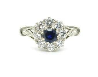 Art Deco 18ct white gold Platinum Sapphire Diamond engagement ring Halo flower daisy cluster daisy 1930's Antique Anniversary*FREE Ship