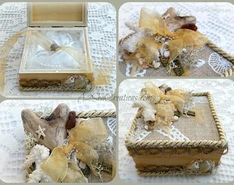 Beach Wedding - Ring Pillow - Ring Bearer's Box / Holder - Wedding Accessory