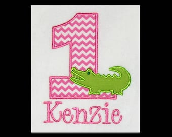 Custom Personalized Applique Birthday Number ALLIGATOR and NAME Shirt or Bodysuit - Pink Chevron Stripe and Lime Green