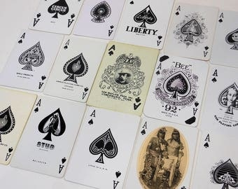 15 Single ACE of SPADES | Vintage Playing Card Assortment | Game Cards | Paper Ephemera | Swap Craft Supplies | All Different | APC1A
