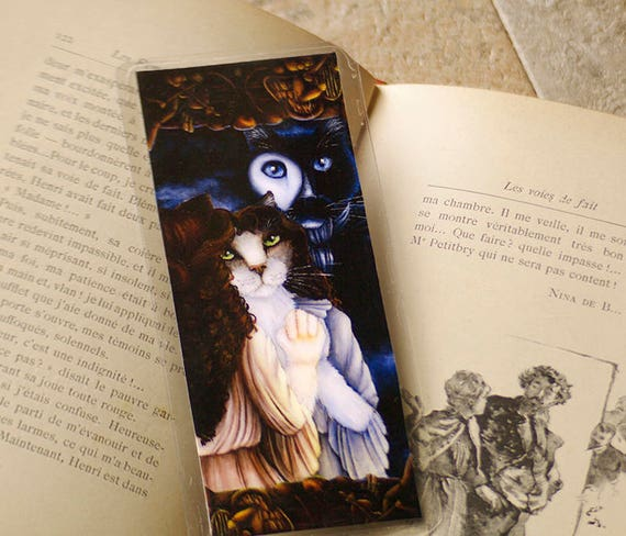 Phantom Cat Bookmark, Gaston Leroux Phantom of the Opera Paper Bookmark