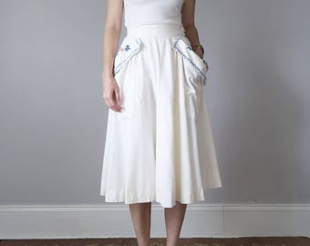 50s white embroidered cotton full skirt pockets high waist (xs - s)