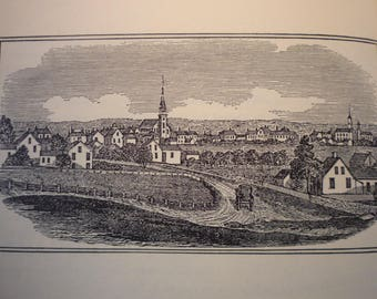 Falmouth Cape Cod Massachusetts Town Engravings 1964 - New England Antiquarian Society - framable gift town history