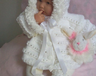 White baby sweater girls or Reborn Dolls White Baby Hoodie Sweater cardigan booties set with Furry Trim  0-12M Ready To Ship