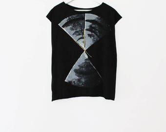 Black shirt, Handmade t shirt, hand printed shirt, Black T-shirt with abstract print