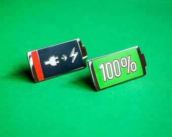 Battery Enamel Pins - Low and Full Battery