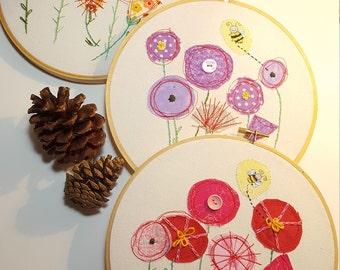 Textile Hoop Art, Wall Art, embroidery Hoop Art, Flowers, three selections, textile wall decor