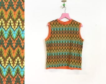 Vintage 1970s Psychedelic Orange Green Blue Acrylic Sleeveless Top Size M-L