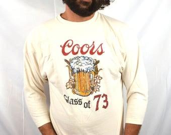 Vintage 1970s 70s 1973 Coors Beer Tee  Shirt Tshirt