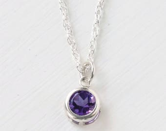 Amethyst Necklace Silver / Amethyst Pendant Silver / Small Round Amethyst Necklace / February Birthstone Jewelry / 16 inch OR 18 inch