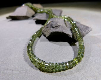 Large Moldavite necklace, ø 5mm, faceted, 17.5'' inches, genuine, green meteorite, top quality, gift for her, silver, adjustable, lucky star