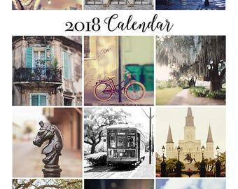 New Orleans Art, 2018 Desk Calendar, French Quarter, Louisiana Home Decor, Travel Photography, Stocking Stuffer, Hostess Gift, Gift under 50