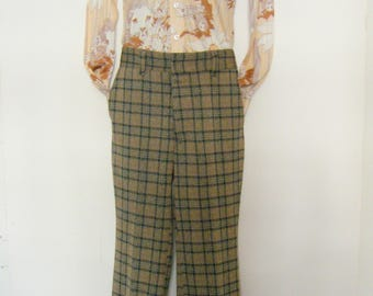1970s LION disco shirt and BELL BOTTOMS psychedelic print /  plaid pants, size s, 31 x 29