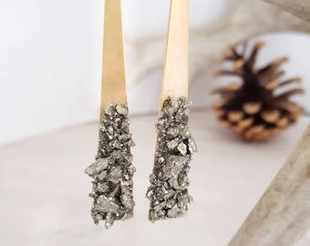 Statement Earrings Triangle Earrings Pyrite Earrings Brass Earrings Raw Pyrite Earrings Christmas Gift for Women Holiday Jewelry Boho Chic