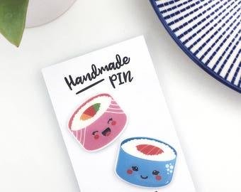 Sushi Pin Badge Gift Set, Foodie, Foodie Gift, Kawaii Lapel Pin, Pin Gift Friend, BFF Gift, Flair, Pin Club, Sushi Lapel Pin, sushi pins