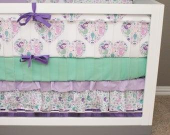 Mermaid Crib Bedding, Girl Bedding Baby Cribset, Purple Baby Bedding, Mint Teal Lilac Lavender Pink Ocean Scales Seashells Starfish Purple