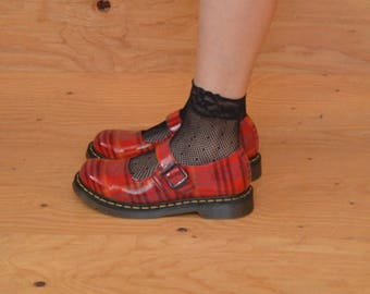 Vintage 80's Red Plaid Patent Leather Mary Jane Dr. Marten Fits SZ 9.5/10