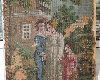 Antique Shabby GLASS  MICRO-BEADED Embroidery Victorian Family in Garden Picture 6 1/2 x 9 ins. As Is c1840s
