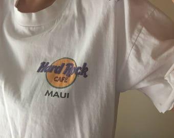 Hard Rock MAUI | L white cotton vintage 90s club kid hipster surf short sleeve tshirt tee mens surfboard Hawaii large