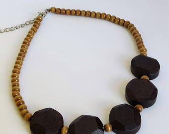 Wooden Bead Necklace / Wood Bead Choker Necklace / Wood Bead Necklace Boho / Wooden Bead Choker Necklace / Black Wooden Necklace Chunky