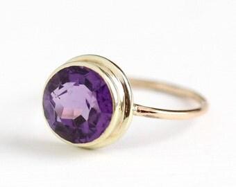 Sale - Antique Amethyst Ring - Vintage 14k Gold 2.08 CT Size 6 1/2 Edwardian Early 1900s - Purple Genuine Gemstone Fine Conversion Jewelry