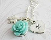 Flower girl starfish necklaces, initial necklace, blue flower necklace, beach wedding jewelry, sea star jewelry