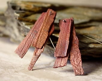 Copper PMC Drop Earrings / 20g SS Ear Wires / Thin + Tiered Red Earth Broken Blades / Canyon Wall PMC Elements / Primitive + Raw + Wild